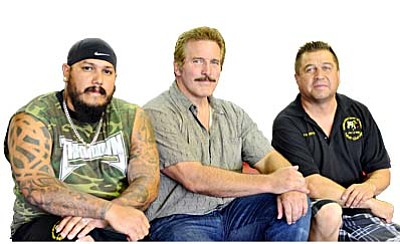 GC Trainer <b>Robert Gonzales</b>, <b>Dan Severn</b>, and <b>Richard Williams</b> pose for a picture at Golden Cobra Center of Fitness in Cottonwood Wednesday. VVN/Sean Morris