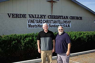 VVN/Philip Wright<br /><br /><!-- 1upcrlf2 -->Vineyard Christian Fellowship now holds Sunday services at 10 a.m. in the Verde Valley Christian Church building at 3605 Zalesky Road in Cottonwood. Pastors Jim Hammond, left, of Verde Valley Christian Church and Randy Sutter of Vineyard Christian Fellowship have been friends for 20 years. Hammond and his board graciously offered to allow Sutter and his church membership hold services in the Zalesky Road building.