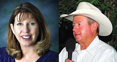 Yavapai County Assessor Pamela Pearsall (left) and Cottonwood rancher Andy Groseta