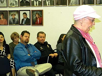 """Barbara Donahue defends """"window cleaner"""" as Prosecutor Terry Sutton and Chief Jody Fanning listen. VVN/Jon Hutchinson"""