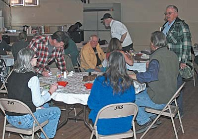 Representatives from Victor, Colo. spent Monday and Tuesday in Jerome visiting with members of the Jerome Historical Society, town government and Chamber of Commerce. On Monday the two groups enjoyed a catered lunch in Spook Hall. VVN/Philip Wright