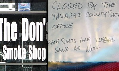 Both The Don's Smoke Shop (left) in Old Town Cottonwood and the Black Pearl shop in Cornville (right) and were searched by Special Crimes detectives with the Yavapai County Sheriff's Office.