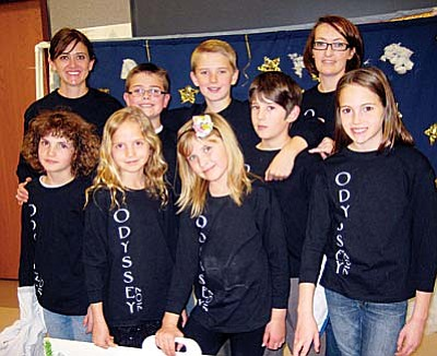 The Odyssey of the Mind team from Clarkdale-Jerome School will be off to Ames, Iowa in May to compete in the World Finals. The team took first place in regional competition and second in state competition. Front Row, (left to right) is Anya Kline, Aubrey Boulet, Olivia Gordon and Olivia Grasso. Back row: Nicole Gordon, (coach), Dallin Gordon, Colton Sorensen, Ethen Rebenschied and (coach) Janae Gordon. Courtesy Photo