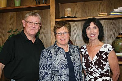 New shared special education director for Mingus Union and Cottonwood-Oak Creek school districts, Pam Fenstamaker, center, posed Tuesday night with MUHS Superintendent Tim Foist and C-OC Superintendent Barbara U'Ren. VVN/Philip Wright
