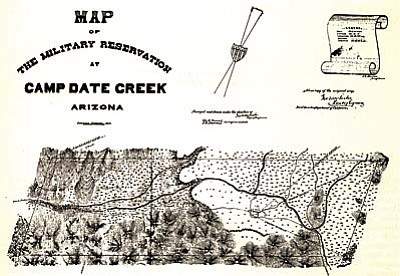 Camp Date Creek was strategically placed at the cross roads of the La Paz Prescott road and one that led southeast to Wickenburg. Beginning in 1870 it also had one of the territory's first established reservations.<br /><br /><!-- 1upcrlf2 -->