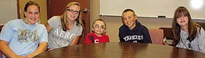 Camp Verde Middle School students Alyssa Watkins, Dusty Dowdle, Cody Wright, Wyatt Howe and Kaitlyn Owen.