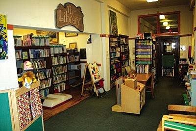 It's crowded, but the main room of the Jerome Public Library serves the town very well.