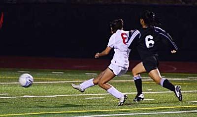 <b>Martina Bueno</b> scores her first high school goal against Bradshaw Mountain Tuesday on Bright Field. VVN/Sean Morris