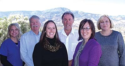 Primary care providers: (from left) - Terah Walsworth, Physician Assistant, Dr. Henry Kaldenbaugh, M.D., Ashley McCabe, ANP, Dr. Curtis Kommer, M.D., Jessie Peters, FNP, and Dr. Jura Adomeniene, M.D.