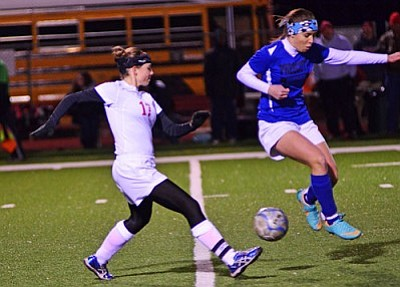 Senior captain defender <b>Ashleigh Makuch</b> breaks up a pass against Prescott Thursday night on Bright Field. VVN/Sean Morris