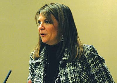 Sen. Kelli Ward, R-Lake Havasu City, explains her legislation Wednesday to make it a felony for federal officials to try to enforce their gun laws in Arizona. The Senate Committee on Public Safety approved the measure on a party line vote.  (Capitol Media Services photo by Howard Fischer)