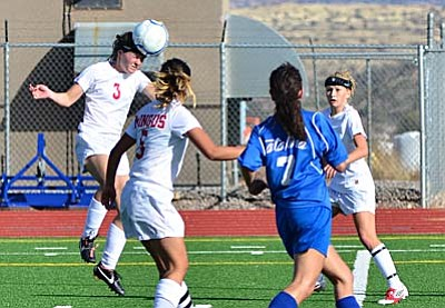 <b>Haley Backus</b> puts her head on a corner kick in the second half Saturday against Catalina. The header went just wide. VVN/Sean Morris