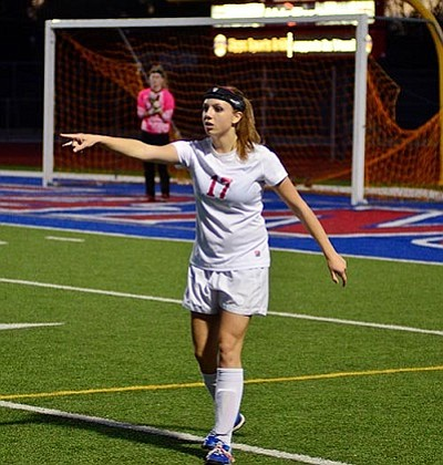 Senior defensive captain <b>Ashleigh Makuch</b> directs traffic against Cactus Tuesday at Arcadia HS. Mingus has not allowed a goal this postseason! In three games they've outscored opponents 11-0! VVN/Sean Morris
