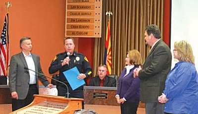 From left,  City of Prescott Councilman Alan Carlow presented the Prescription Drug Abuse Reduction Initiative during the February 12th Council Meeting, along with MATFORCE Board of Director and Prescott Police Department Deputy Chief, Andy Reinhardt; MATFORCE Public Relations Coordinator, Jeanne Wellins; and MATFORCE Steering Committee members Larry Green, CEO of West Yavapai Guidance Clinic, and Liz Frost, Director of Student Life at Embry-Riddle Aeronautical University.