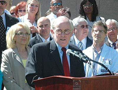 Sen. Steve Pierce of Prescott speaks in support of the plan by Gov. Jan Brewer to expand the state's Medicaid program. Pierce said without those funds rural hospitals could end up shutting their doors.  (Capitol Media Services photo by Howard Fischer)