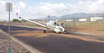 A pilot landed on Airport Road instead of the runway at Cottonwood Airport, suffering minor injuries. Courtesy Cottonwood Police