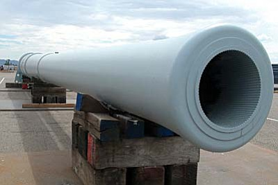 This gun barrel from the USS Arizona is ready to be moved to Wesley Bolin Memorial Plaza in October as organizers ready the state's World War II memorial for a Dec. 7 dedication. (Cronkite News Service Photo by Andrew Knochel)