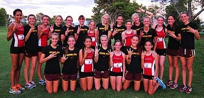 Aftershock with the ASU cross-country team. Photo Courtesy of Tiffany Goettl/Aftershock Distance Club
