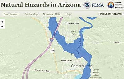 The hazard map can show the potential for flooding in Camp Verde neighborhoods.