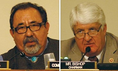 """Rep. Raul Grijalva, D-Tucson, (left) accused Republican lawmakers of presenting """"doomsday scenarios"""" of another federal government shutdown in an effort to deflect blame for the October shutdown. Rep. Rob Bishop, R-Utah, accused the National Park Service of operating under a """"Soviet-era mindset"""" by closing parks around the country. (Cronkite News Service photo by Jack Fitzpatrick)"""
