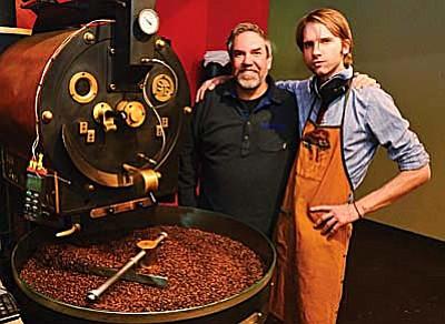 Mike Funk and Matt Dupont show off the Firecreek roaster. VVN/Jon Pelleter.
