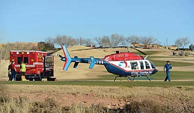 Verde Valley Fire crews on the call summoned the Angel-3 medical helicopter. A woman reportedly struck the steering wheel and suffered abdominal injuries, according to police scanner reports Monday. Photography by Vyto Starinskas