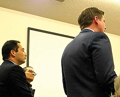 From left, Suehiko Ono and Richard Wrubel listens as Robert Conlin speaks to council. VVN/Jon Hutchinson