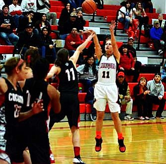 Amber Rippy throws up a trey against Coconino. VVN/Travis Guy