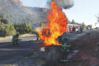 Photo courtesy SFD<br> A Jeep caught fire on Boynton Pass road Tuesday.