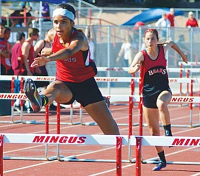 Mingus freshman Brianna Epperson three-stepped her way to a first-place finish in the 100-meter hurdles in 17.27 seconds. VVN/Dan Engler