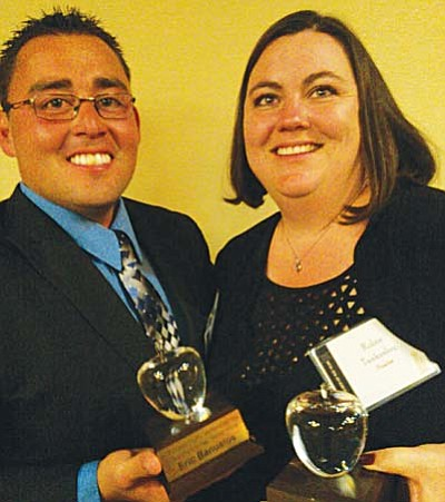 Robin Tankesley (right), a language arts teacher at Camp Verde Middle School, won the title of top 4th-8th-Grade Category Teacher and Eric Banuelos, who teaches agriculture at Mingus Union High School, was chosen the Outstanding First-Year Teacher. Photo by Jim Ledbetter