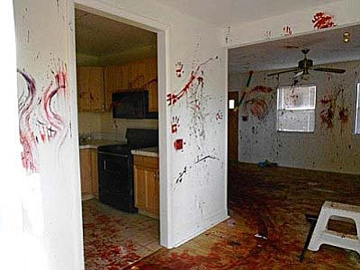 Paint was splattered across all walls and surfaces in a house in Rimrock last week. Photo courtesy YCSO