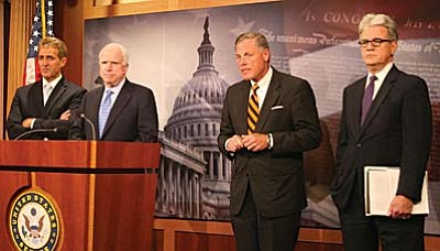The bill introduced by Republican Sens. Jeff Flake and John McCain of Arizona, Richard Burr of North Carolina and Tom Coburn of Oklahoma, from left, comes as serious problems at the VA have forced the resignation of former Secretary Eric Shinseki. (Cronkite News Service photo by Miranda Rivers)