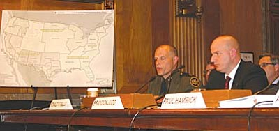U.S. Border Patrol Deputy Chief Ronald Vitiello, left, National Border Patrol Council President Brandon Judd testify in support of a bill that would trim border patrol costs by capping overtime pay for agents. (Cronkite News Service photo by Julianne DeFilippis)