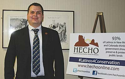 Arizona Rep. Mark Cardenas, D-Phoenix, was in Washington with HECHO – Hispanics Enjoying Camping, Hunting and Outdoors – as it released a survey showing Latinos' support of conservation and the outdoors in western states. (Cronkite News Service photo by Julianne DeFilippis)