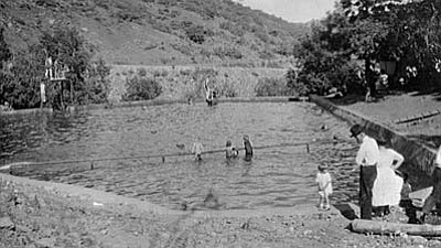 The swimming pool at Walnut Springs, circa 1918.  (Private collection)