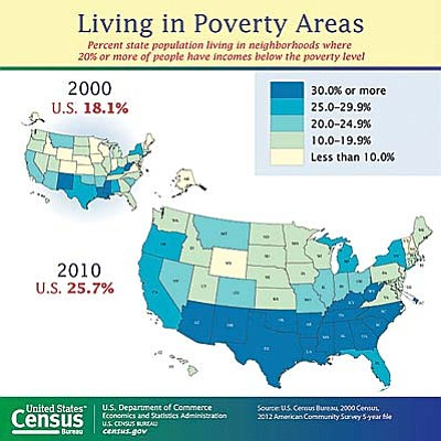 "Arizona saw an increase between 2000 and 2010 in the percentage of residents living in ""poverty areas,"" or those tracts where more than 20 percent of the population is below the poverty level. The state's shift was part of a national trend during the decade. (Map courtesy the U.S. Census Bureau)"