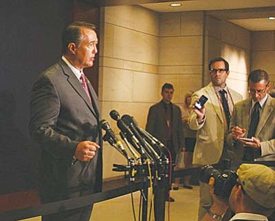 """Rep. Trent Franks, R-Glendale, thinks President Barack Obama's plan to fight ISIS is """"insufficient,"""" but believes Congress will ultimately approve his request for military personnel to train fighters in the region. (Cronkite News photo by Laurie Liles)"""