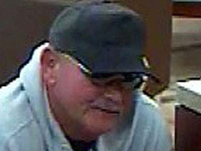 Surveillance photo of Campbell during one of his three bank robberies.