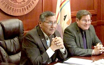 Navajo Nation President Ben Shelly, left, and Navajo Council Speaker Pro Tem LoRenzo Bates announced in May that the tribe had accepted a $554 million settlement of its lawsuit against the federal government. The deal will be formally signed Friday with Obama administration and tribal officials in Window Rock (Photo courtesy the Navajo Nation)