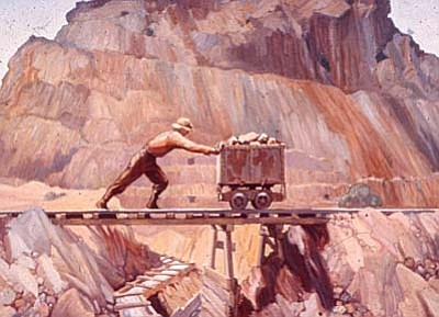 """Miner Pushing Ore Cart"" by William D White. This painting was part of a series commissioned by Phelps Dodge Corporation in the mid-1930's depicting copper miners. It is owned by the Jerome Historical Society and displayed in its Mine Museum on Main Street. Photo Courtesy Jerome Historical Society."
