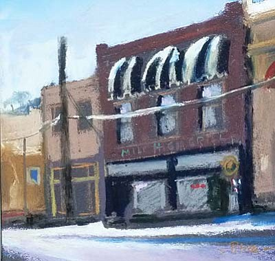 <b>Sedona Plein Air Festival comes to Jerome</b><br /><br /><!-- 1upcrlf2 -->Oct. 21<br /><br /><!-- 1upcrlf2 -->The 10th annual Sedona Plein Air Festival will once again return to Jerome with some of the top painters in the country arriving to experience the visual delights of Jerome. The day will be Tuesday, rain or shine with a tent in Middle Park. <br /><br /><!-- 1upcrlf2 -->The day begins early, with painters arriving for first light on Cleopatra Hill and will end with a show and sale of the day's paintings at Cellar 433. For more information, contact Donna at (928) 301.3004. Susan Pitcairn created this painting during the 2013 Festival. The subject is the Mile High Grill and Inn, one of the proud participants in Jerome.