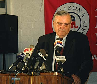 Maricopa County Sheriff Joe Arpaio has filed suit against President Obama challenging his authority to implement changes in immigration policy and allow about 5 million individuals now here illegally to remain.  (Capitol Media Services file photo by Howard Fischer)