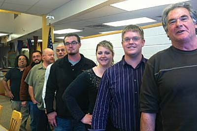 From left, Mingus teachers Jason Teague (Art), Eric Banuelos (Agriculture), Tyler Novak (Art), Jeff Neugebauer (Technical Theater), Chad Elmer (Agriculture), Ashly Lawler (Theater), James Ball (Theater) Rick Finley (CADD)