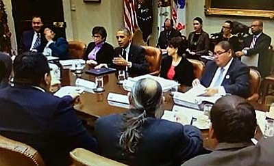 Yavapai-Apache Nation Chairman Thomas Beauty, pictured far right seated at table, attended President Obama's sixth annual Tribal Nations Conference on Dec. 2. Beauty discussed issues important to the Yavapai-Apache Nation. Photo courtesy Rez Media Group<br /><br /><!-- 1upcrlf2 -->