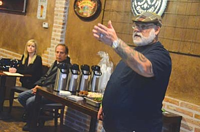 Mitch Levy runs the Old Town Association meeting at the Bootleggers Beer Club in Cottonwood on Wednesday night. VVN/Vyto Starinskas<br /><br /><!-- 1upcrlf2 -->