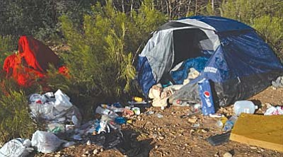 Homeless camp in the Cottonwood area. VVN/Vyto Starinskas