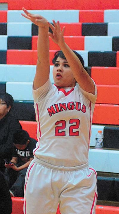 Angelyna Razo shoots the ball. Razo was an important player for Mingus. VVN/Derek Evans