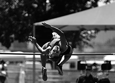 Mingus senior Allison Whitworth has scored points for the Marauders in the high jump in the last two state track meets.