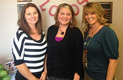 From left, Heather Wacker, former Positive Adolescent Choices teacher currently the College and Career Readiness Coach for the district.  Center is Katie McCabe Health Educator with the Yavapai County Health Department. Right is Rynnie Scott current Positive Adolescent Choices teacher at Cottonwood Middle School. Photo courtesy of Heather Wacker.